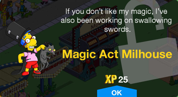 Tapped Out Magic Act Milhouse Unlock.png