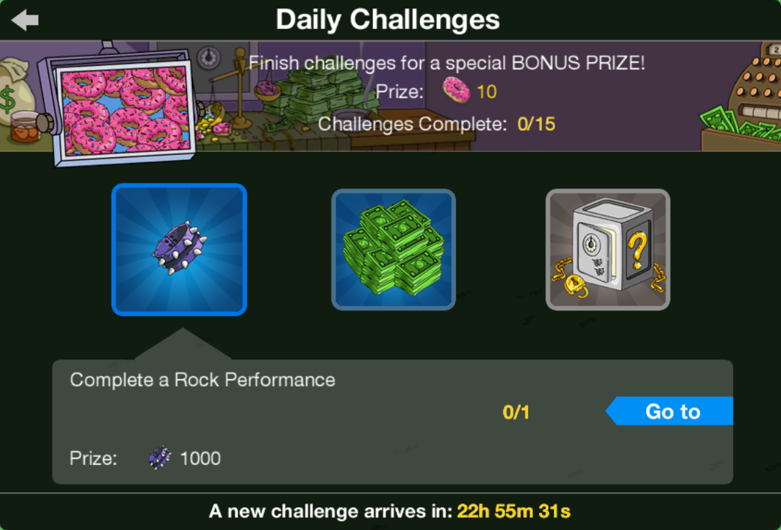 Homerpalooza Daily Challenges Screen.png