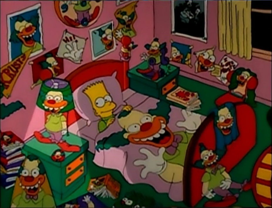Bart surrounded by Krusty merchandise.png