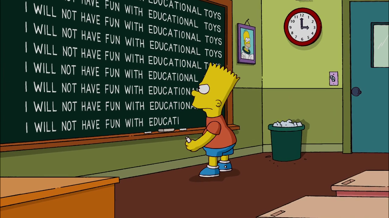 No Loan Again, Naturally Chalkboard Gag.png