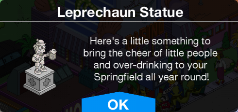 TSTO Leprechaun Statue Message.png