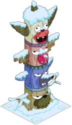 Tapped Out Krusty Themed Totem Pole snow.png