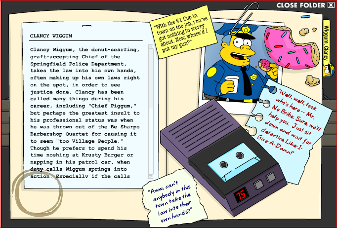 9caa7dad048 Chief Wiggum s character folder seen inside the Hall of Records