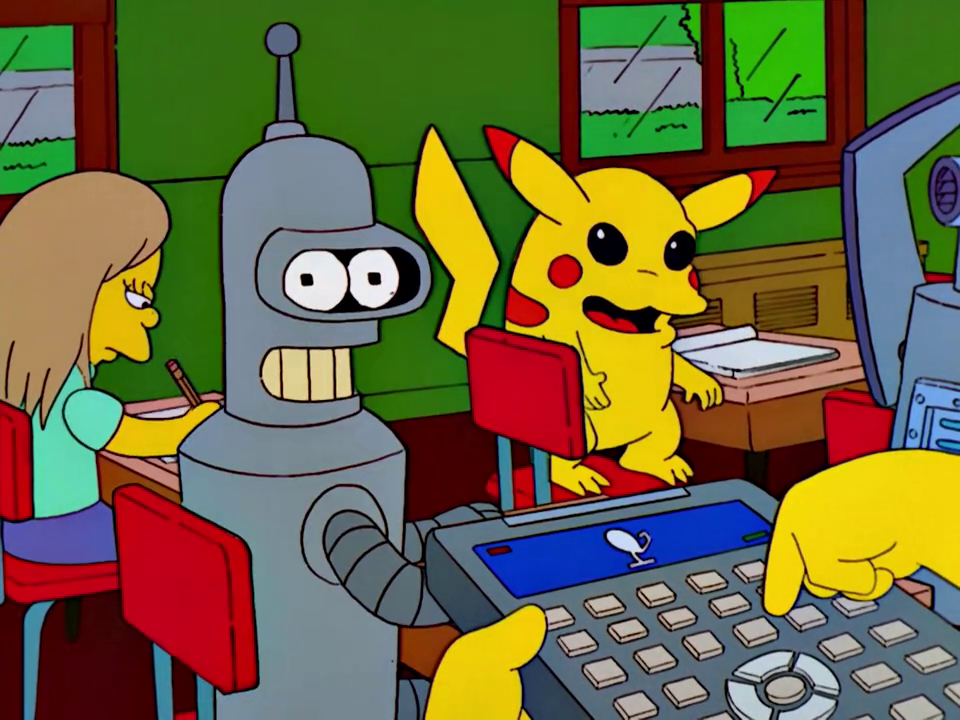 Pikachu and Bender Cameo (Bart vs. Lisa vs. Third Grade).png