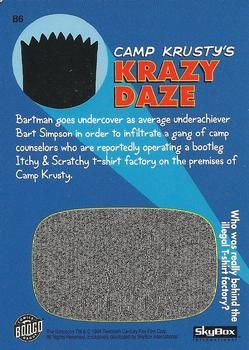 B6 Camp Krusty's Krazy Daze (Skybox 1994) back.jpg