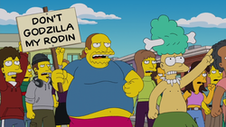 Don't Godzilla My Rodin! sign.png
