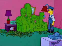 Simpsons Opening Couch Gag Season 13 (With Gardener Trimming Hedge Into Shape of Family).png