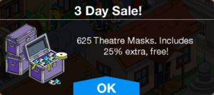 Tapped Out Theater Masks 3 Day Sale.png