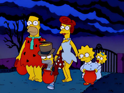 Simpsons dressed up for Halloween at Burns Manor.png