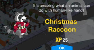 Tapped Out Christmas Raccoon New Character.png